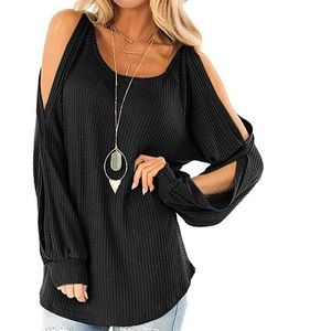 Beautiful woman cold shoulder round neck blouse